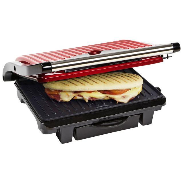BESTRON - Gril à panini/viande: 1000W - rouge