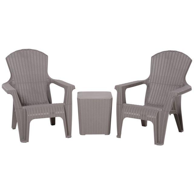 OUTSUNNY Salon de jardin 2 pers. 3 pièces - ensemble bistro style néo-rétro - 2 fauteuils lounge + table basse coffre - polypropy