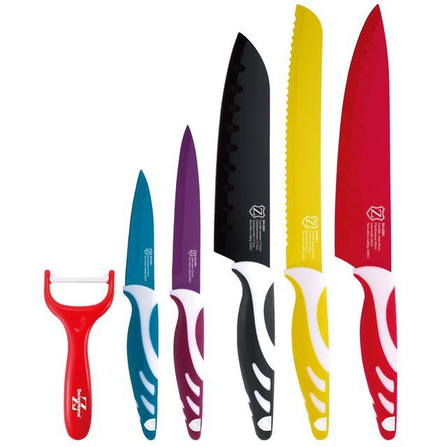 Bergner Set de 5 lames et éplucheur, acier inoxydable, Multicolore, 38 x 20 x 3.5 cm, 6 unités