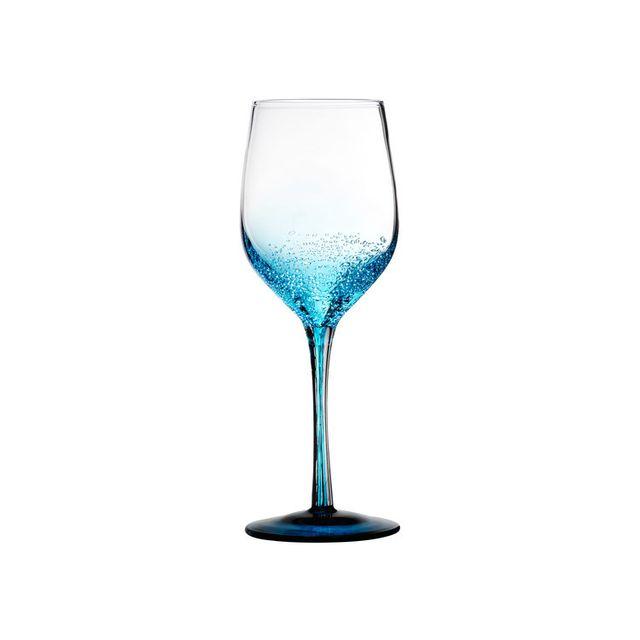 Novastyl Verre à vin soufflé bouche 32cl - Coffret de 2 pièces Oxygen - Bleu