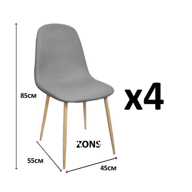 zons lot de 4 chaise salle a manger anti tache scandinave gris 45x55xh85cm pas cher achat. Black Bedroom Furniture Sets. Home Design Ideas