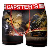 Capster'S Official - Boxer Homme Microfibre Mot Noir Rouge