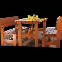 Habrita - Table de jardin Strasbourg avec 2 bancs en sapin 6 personnes