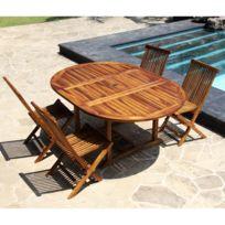 Bois Dessus Bois Dessous - Salon de jardin teck en bois de teck huilé 4 /8 pers Table larg 120cm + 4 chaises