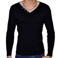Stef Wear - Pull Col V Double - Homme - Stef 701 - Noir Gris