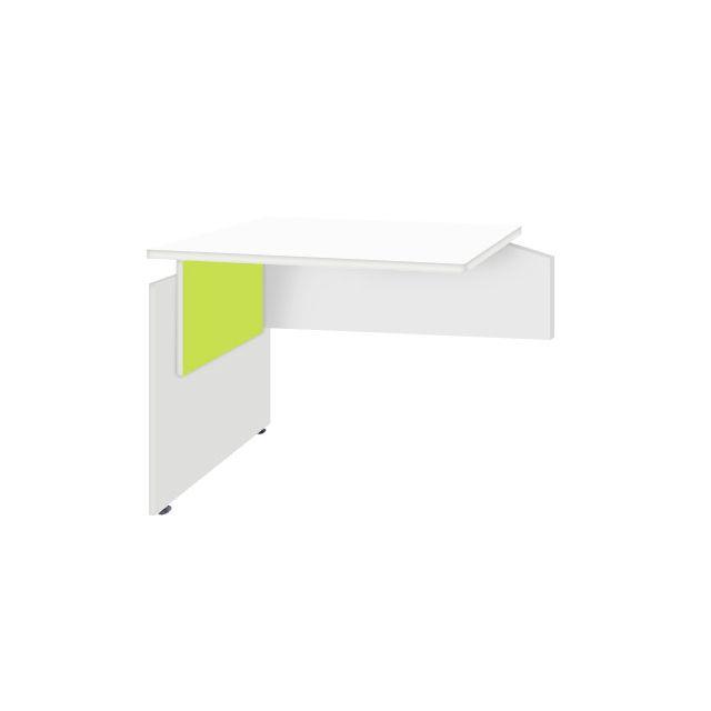 Retour bureau professionnel réversible 80x60 cm coloris blanc anis