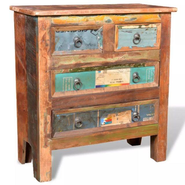 Stylé Armoires et meubles de rangement gamme Le Caire Armoire avec 4 tiroirs Bois massif de récupération
