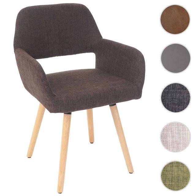 Mendler Chaise de salle à manger Altena Ii, fauteuil, design rétro des années 50 ~ tissu, marron