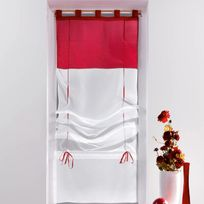 Decoline - Un store droit à passant - rideau voile bicolore blanc / rouge carmin 60 x 180 cm