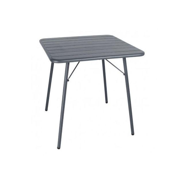 Materiel Chr Pro Table à lattes carrée en acier Bolero 700 mm grise