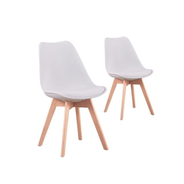 usinestreet lot de 2 chaises scandinaves andrea avec coussin et pieds bois couleur blanc. Black Bedroom Furniture Sets. Home Design Ideas