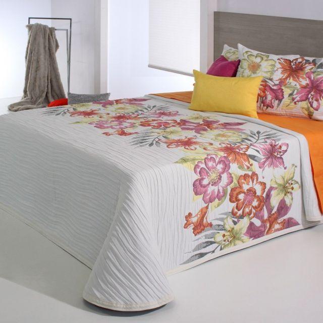 100pourcentcoton couvre lit 250x270 cm tiss jacquard cler orange pour lit de 160x200 cm. Black Bedroom Furniture Sets. Home Design Ideas