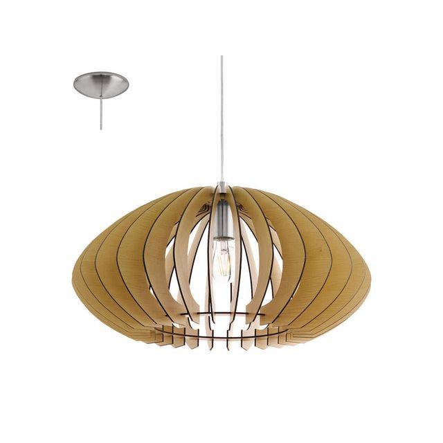 Eglo - Suspension boule en bois et acier diamètre 50cm Cossano - Bois naturel