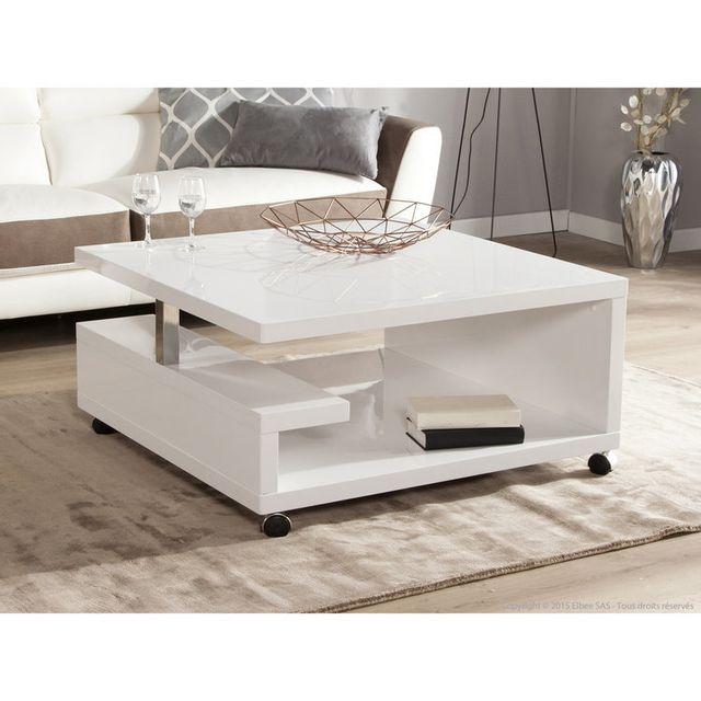 Marque Generique Table basse carrée en bois laqué blanc Hauteur 38 cm Genes