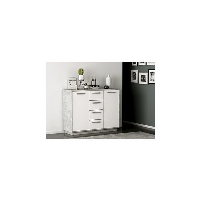Commode 2 portes 4 tiroirs en décor blanc et béton