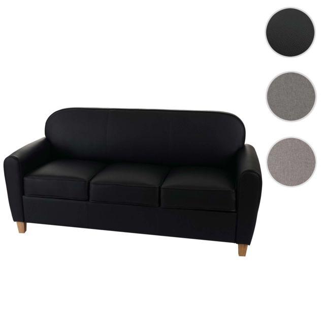 Mendler Canapés à 3 places Malmö T377, canapé lounge, style rétro des années 50 ~ noir, similicuir