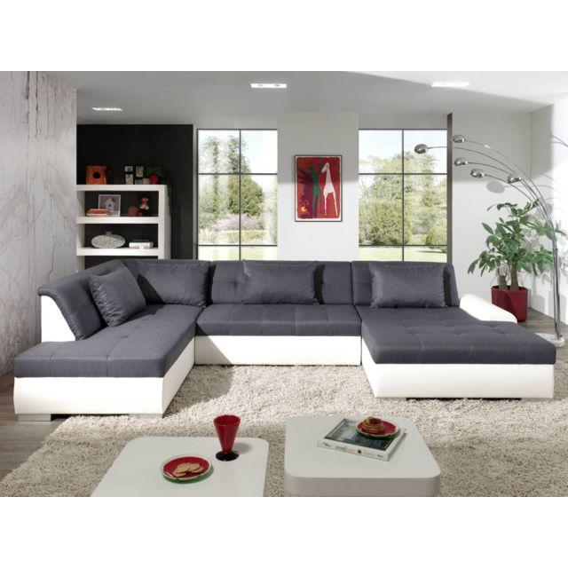 BESTMOBILIER Utah - Canapé d'angle panoramique XXL en U - Convertible - en simili et tissu - Gauche Couleur - Blanc / Gris