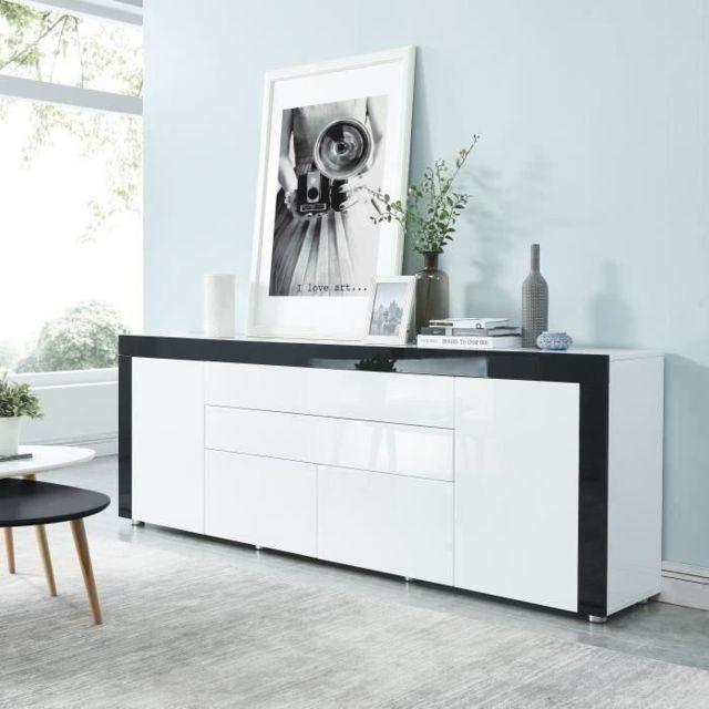 BUFFET - BAHUT - ENFILADE VOX Buffet contemporain laqué blanc et noir brillant - L 200 cm