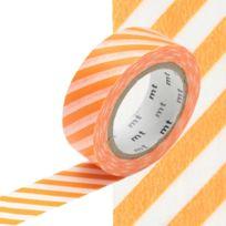 Masking Tape - Mt 15 mm Rayé orange et blanc - MT