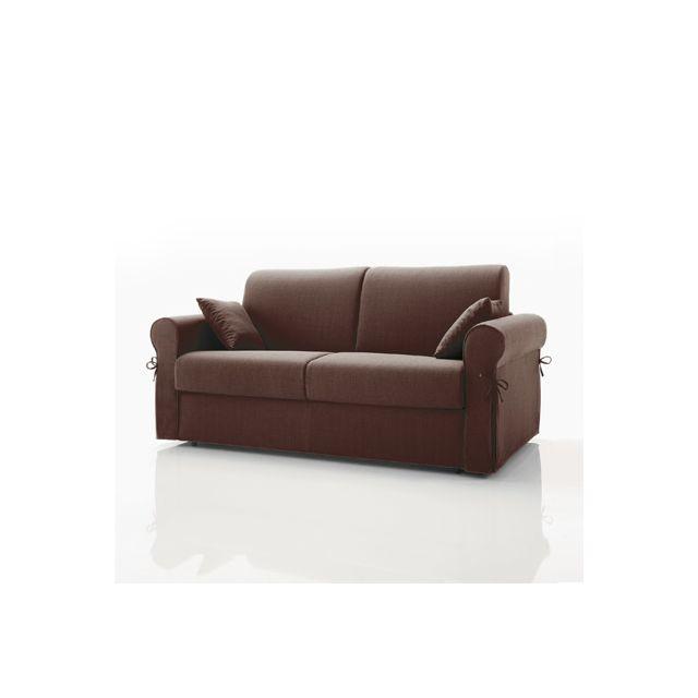 Canapé convertible 2 places maxi, tissu déhoussable - chocolat