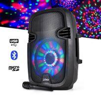 """Party Sound - Enceinte mobile batterie 8""""/20cm à Leds Rvb - 300W - Usb/BT/FM + Micro"""