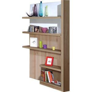 comforium biblioth que ultra moderne 4 tag res coloris bois et blanc laqu blanc marron. Black Bedroom Furniture Sets. Home Design Ideas