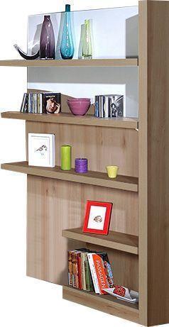 soldes comforium biblioth que ultra moderne 4 tag res coloris bois et blanc laqu blanc. Black Bedroom Furniture Sets. Home Design Ideas