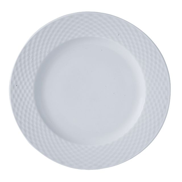 Thekitchenette Lot De 4 Assiette Plate 27,5CM En Porcelaine Blanche Polo