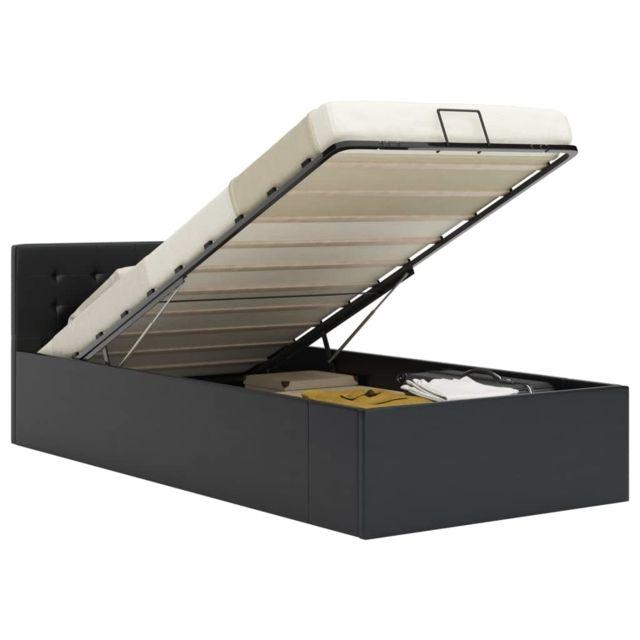 Uco Cadre de lit à rangement hydraulique Noir Similicuir 90x200 cm