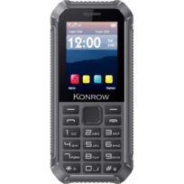 Konrow - Stone Lite - Téléphone Antichoc Certifié Ip65 - 2.4'' - Double Sim - Noir / Gris