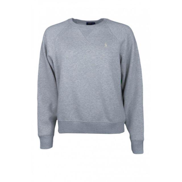 6757999e813c Ralph Lauren - Sweat col rond molleton gris pour femme - pas cher Achat    Vente Sweat femme - RueDuCommerce