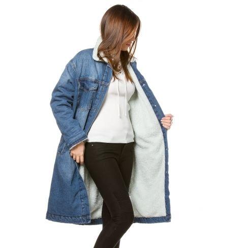 153eb4ab0024f Princesse Boutique - Veste fourrée en jean Bleue - pas cher Achat ...