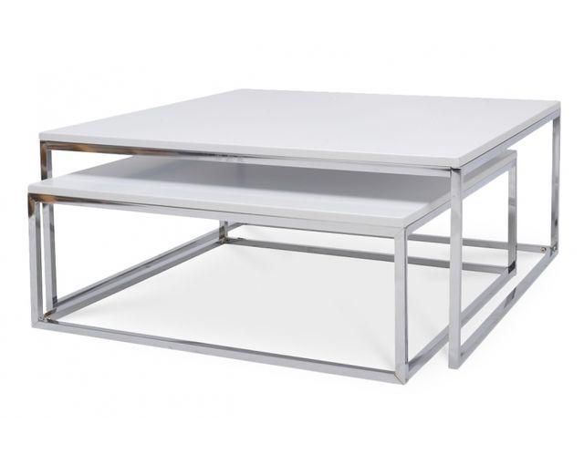 Coton Pastel Table Basse Gigogne Metal Et Bois Blanc Pas Cher