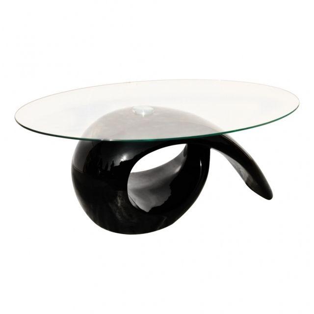 Casasmart Table basse plateau en verre pied noir brillant