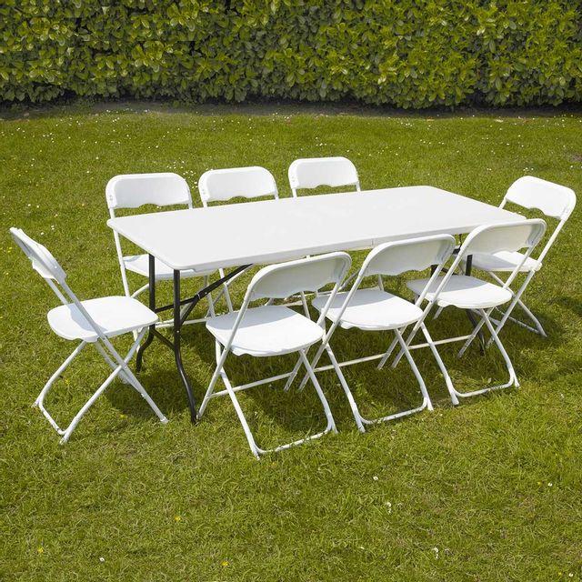 Mobeventpro Ensemble table et chaises pliantes de jardin - 8 places 180cm - camping réception traiteur buffet - Blanc