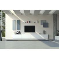 House and Garden - Grand Meuble Tv & BibliothÈQUE Blanc Et Gris - Anadia
