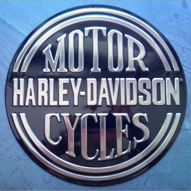 Universel plaque harley davidson motor cycle noir ronde - Frais de port gratuit rue du commerce ...