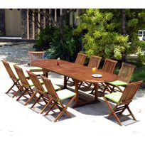 Wood-en-Stock - salon de jardin 10 chaises et table 200-300 cm en teck huilé