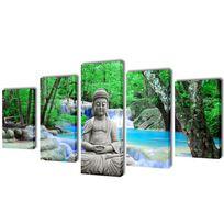 Vimeu-Outillage - Set de toiles murales imprimées Bouddha 200 x 100 cm