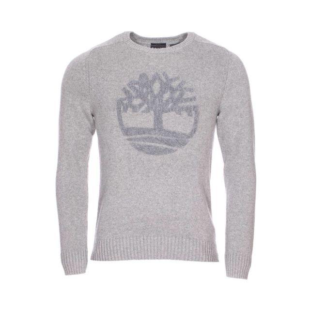 Timberland - Pull col rond en coton biologique et laine mérinos gris chiné  XXL - pas cher Achat   Vente Pull homme - RueDuCommerce c46e8e024b71