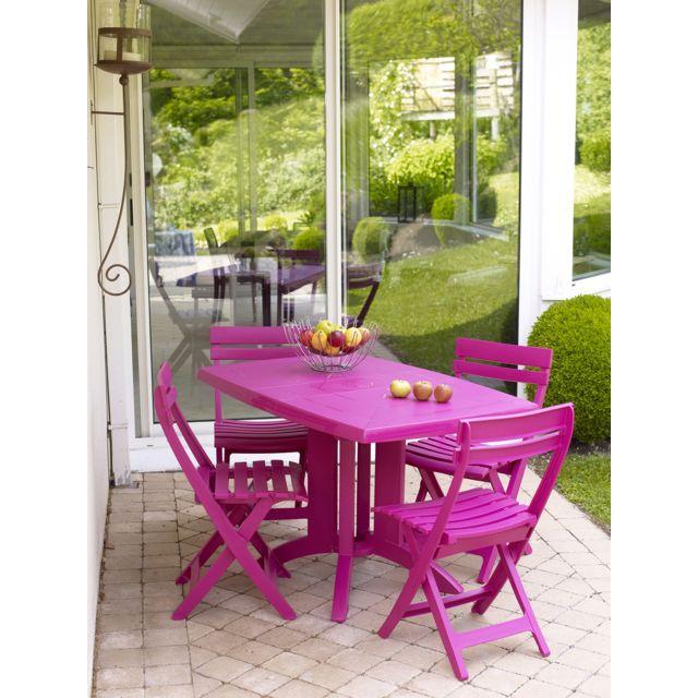 Grosfillex - Salon de jardin 4 couverts vega 118 x 77 cm et ...