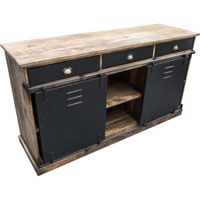 antic line creations - buffet industriel 3 tiroirs et 2 portes