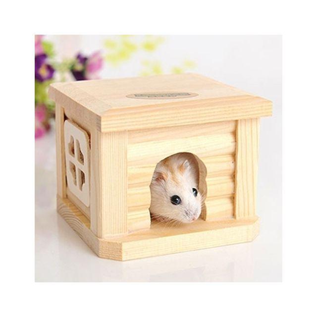 Wewoo Pour le petit animal Hamster de lapin Cage en bois d'animal familier de cabane de toit de maison
