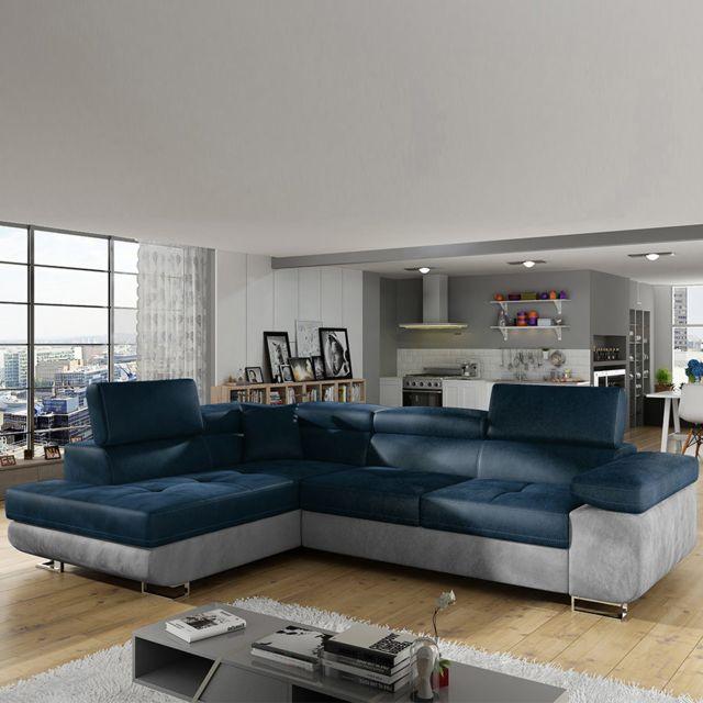 KASALINEA Canapé angle gauche en tissu bleu et gris LIAM