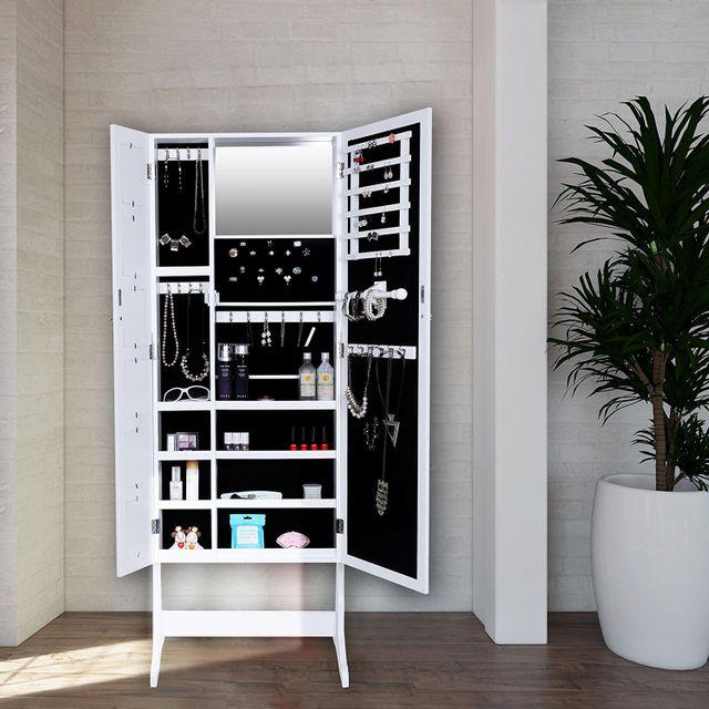 Rocambolesk - Superbe Armoire à Bijoux avec Miroir Cadre Photo sur Pied Blanc Jbc27W neuf
