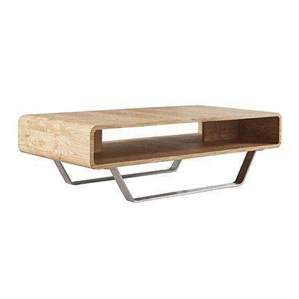 Table de salon 120cm en chêne et inox