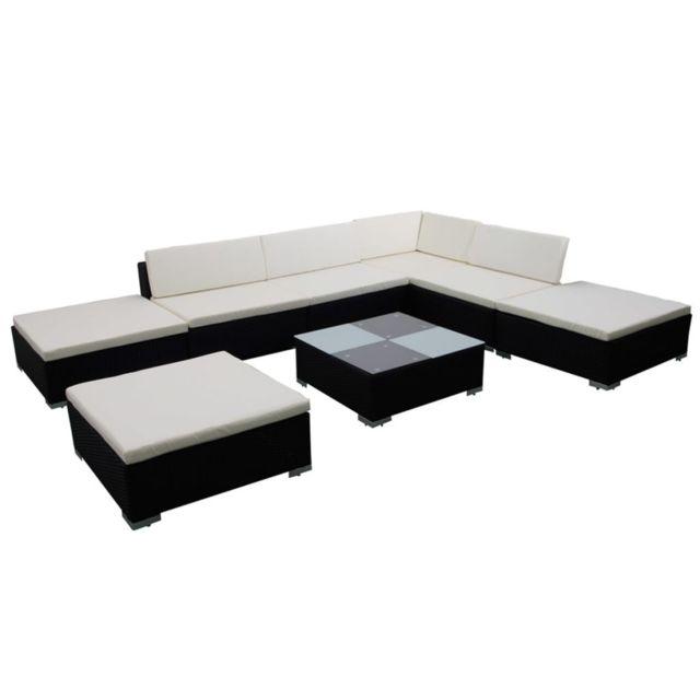 Icaverne - Ensembles de meubles d'extérieur categorie Jeu de meuble de jardin 20 pcs Noir Résine tressée