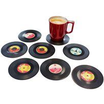 Touslescadeaux - 8 Dessous de Verre Vinyle - sous verre Vinyl retro vintage