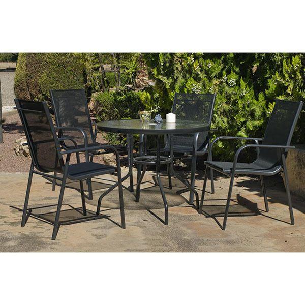 Hevea Jardin Ensemble de table et 4 chaises de jardin Teluro 90/4