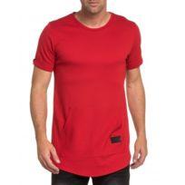 Celebry tees - T-shirt fashion rouge uni poche kangourou